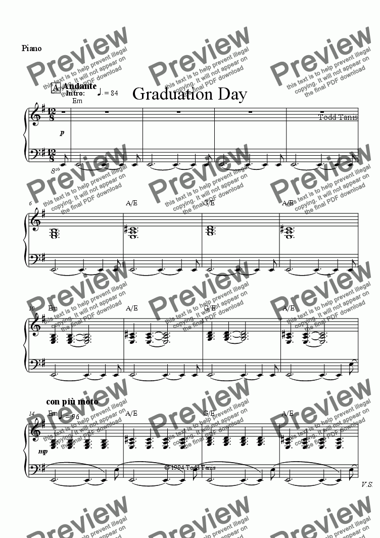 page one of the Piano part from Graduation Day [piano-vocal solo-TTBB]