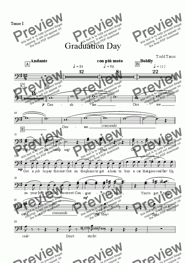 page one of the Tenor I part from Graduation Day [piano-vocal solo-TTBB]