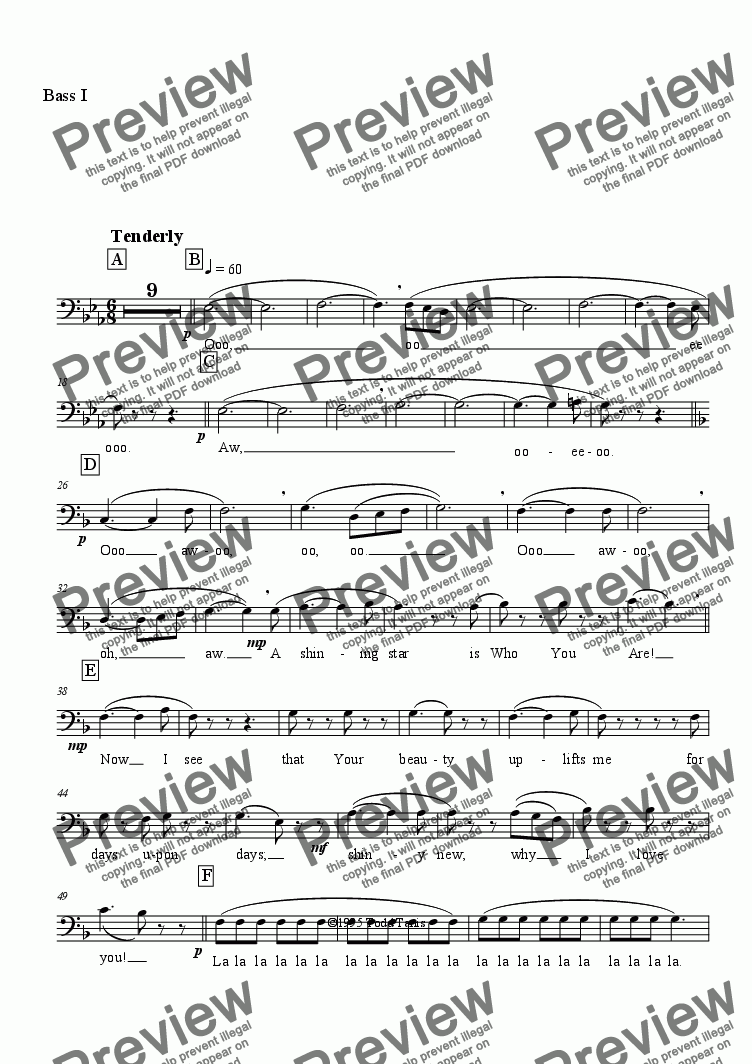 page one of the Bass I part from In a Way [piano-vocal solo-TTBB]