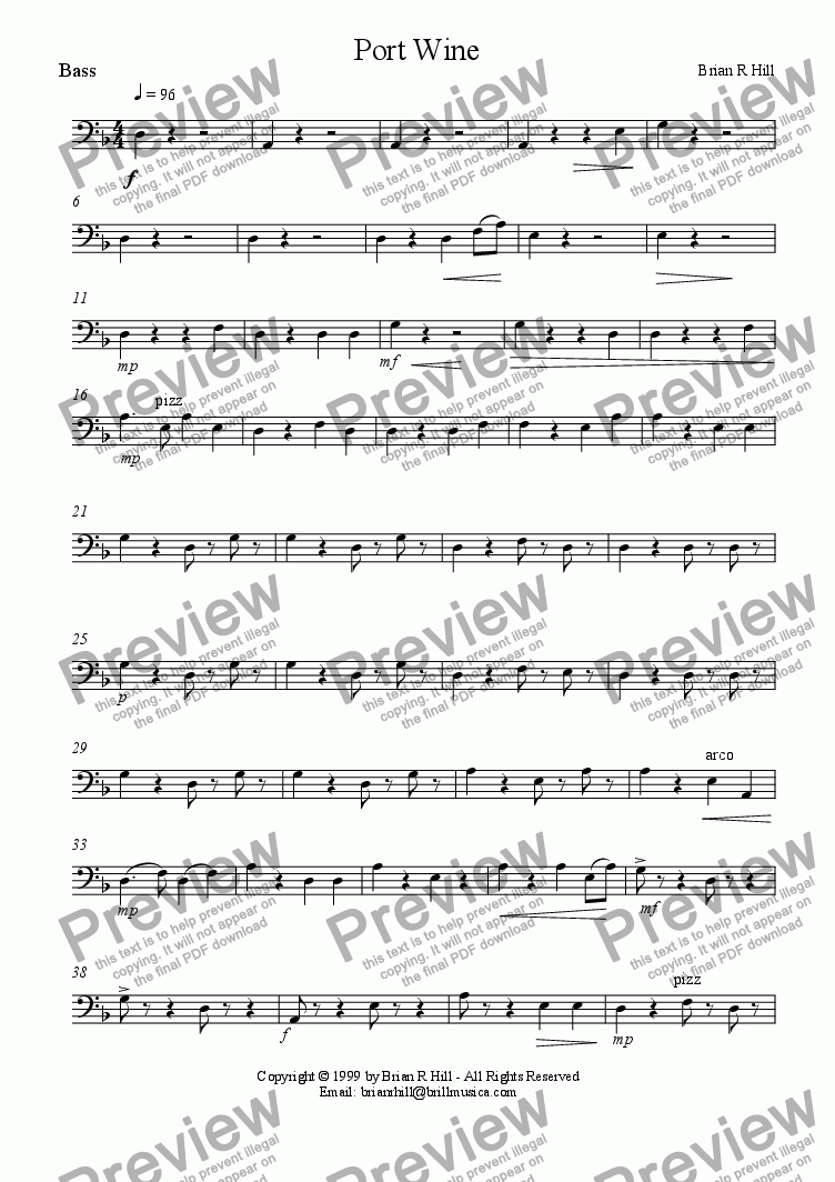 page one of the Bass part from Port Wine