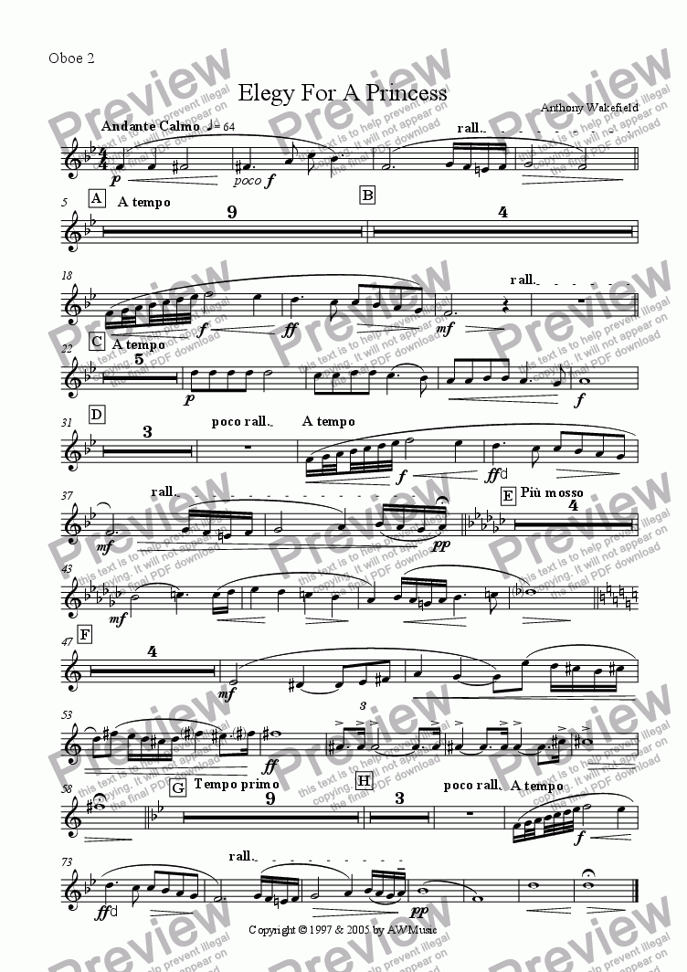 page one of the Oboe 2 part from Elegy For A Princess