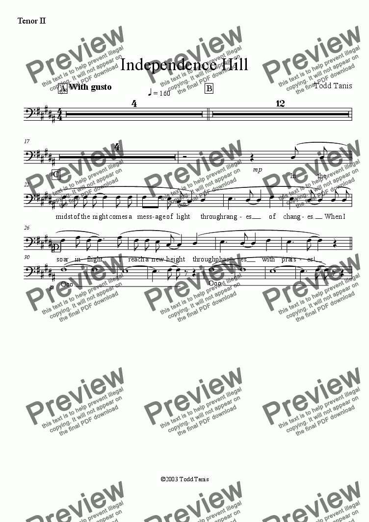 page one of the Tenor II part from Independence Hill [piano-vocal solo-TTBB]