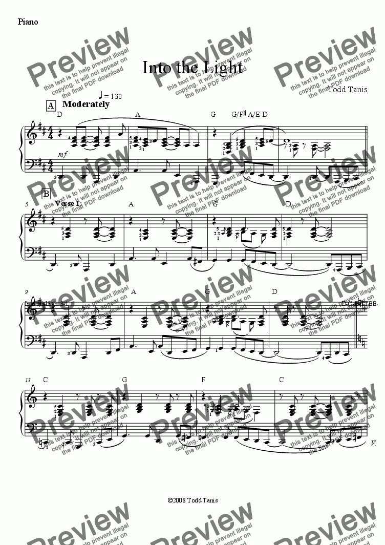 page one of the Piano part from Into the Light [piano-vocal solo-TTBB]