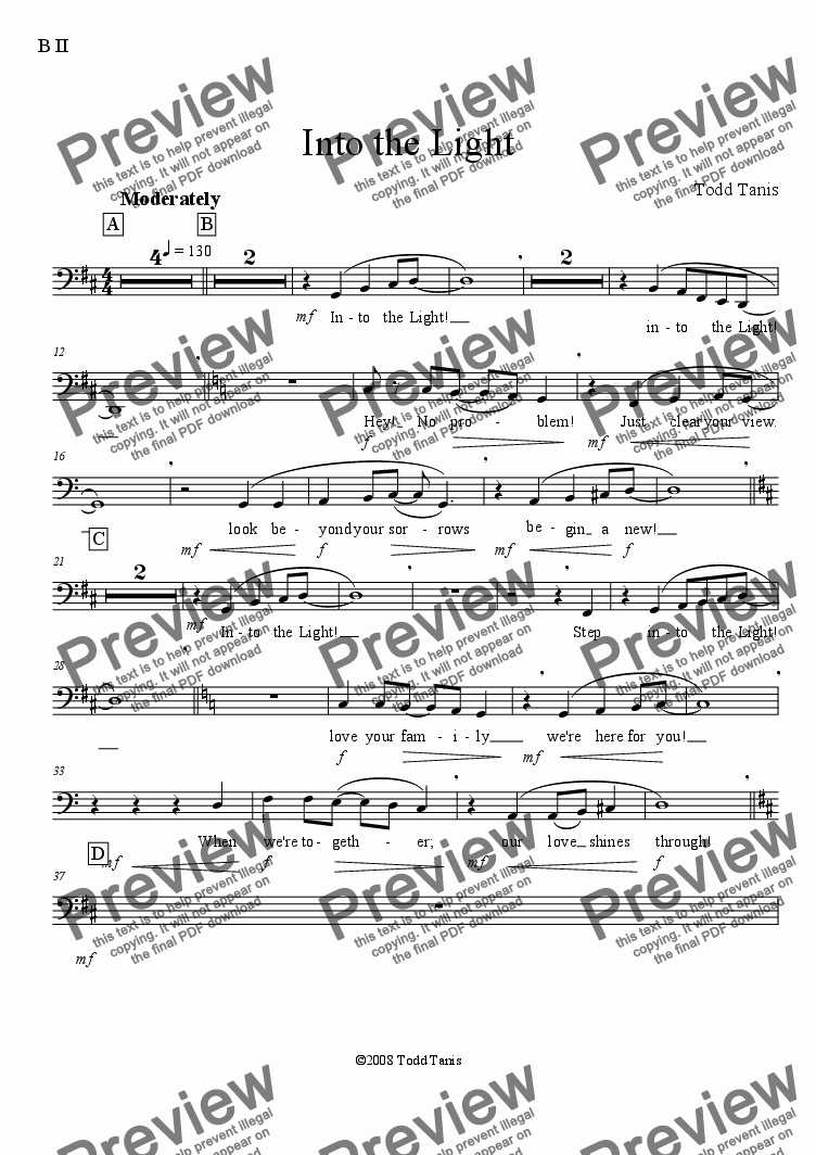 page one of the B II part from Into the Light [piano-vocal solo-TTBB]