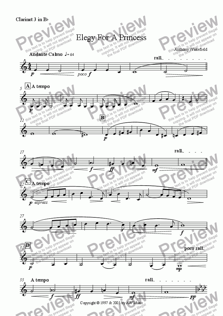 page one of the Clarinet in Bb 3 part from Elegy For A Princess