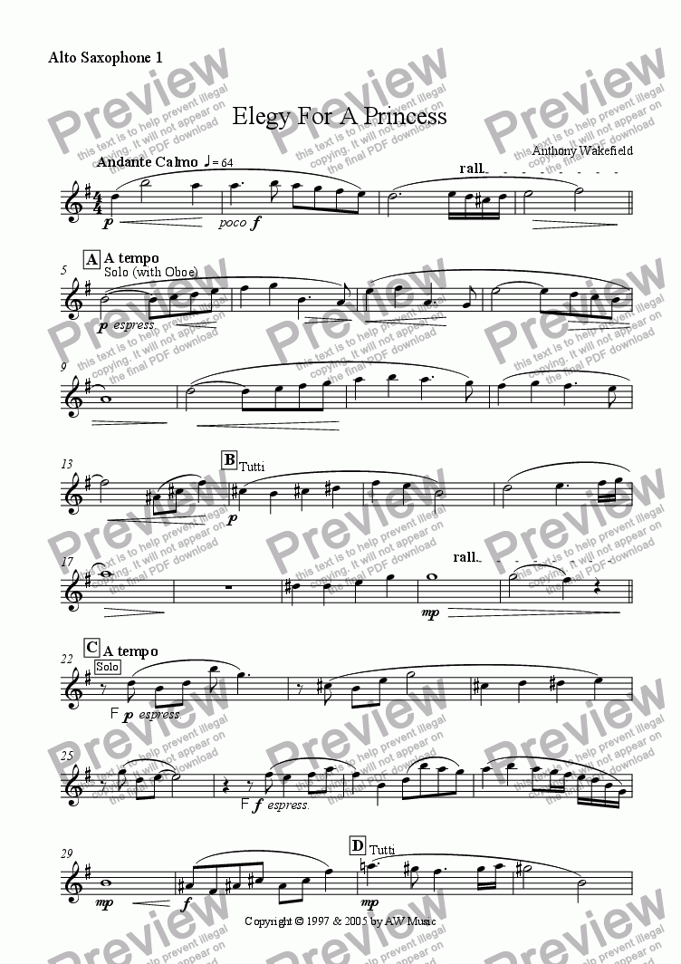 page one of the Alto Saxophone 1 part from Elegy For A Princess