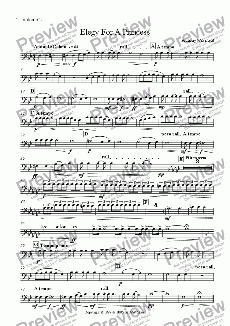 page one of the Trombone 2 part from Elegy For A Princess