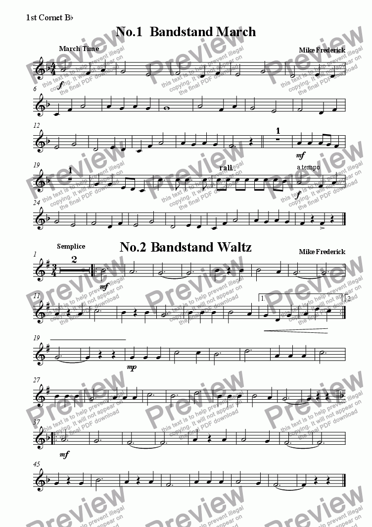 page one of the 1st Cornet B^b part from  Junior Bandstand ( No1.Bandstand March   No.2 Bandstand Waltz