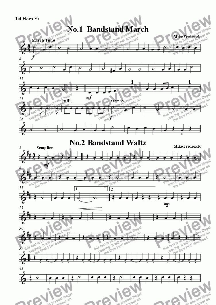 page one of the 1st Horn E^b part from  Junior Bandstand ( No1.Bandstand March   No.2 Bandstand Waltz