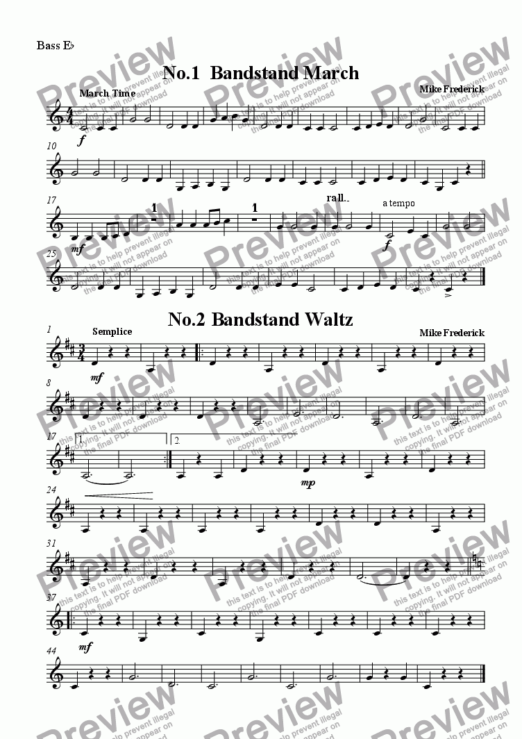 page one of the Bass E^b part from  Junior Bandstand ( No1.Bandstand March   No.2 Bandstand Waltz