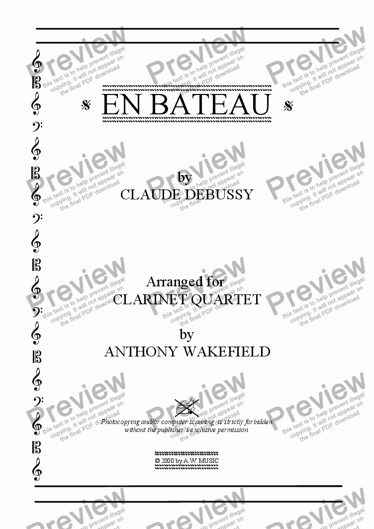 page one of the Score Title Page part from En Bateau