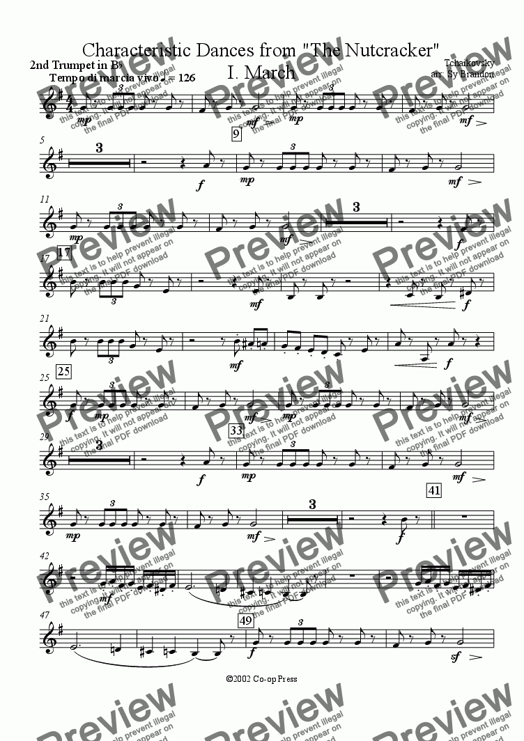 page one of the Bb Trumpet 2 part from March from The Nutcracker Suite