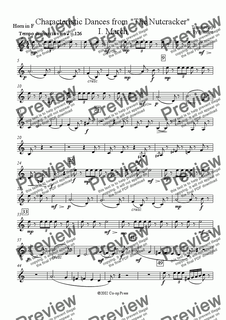 page one of the F Horn part from March from The Nutcracker Suite