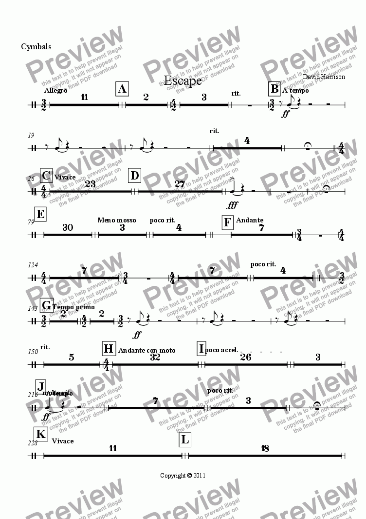 page one of the Cymbals part from Escape