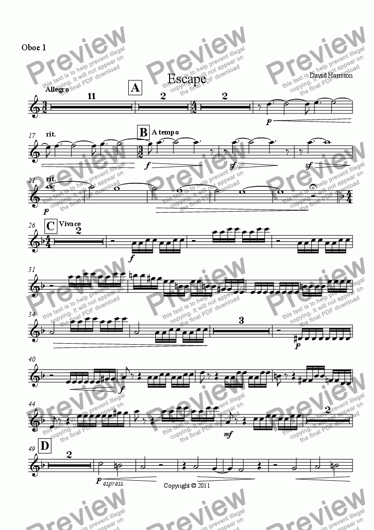 page one of the Oboe 1 part from Escape