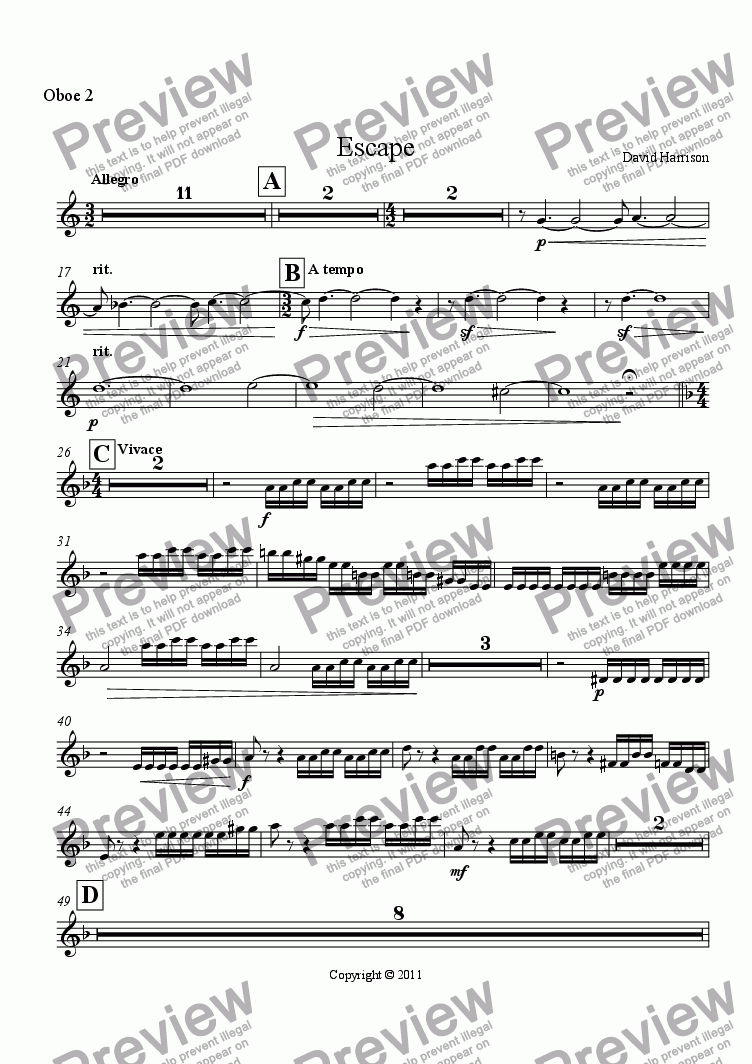 page one of the Oboe 2 part from Escape