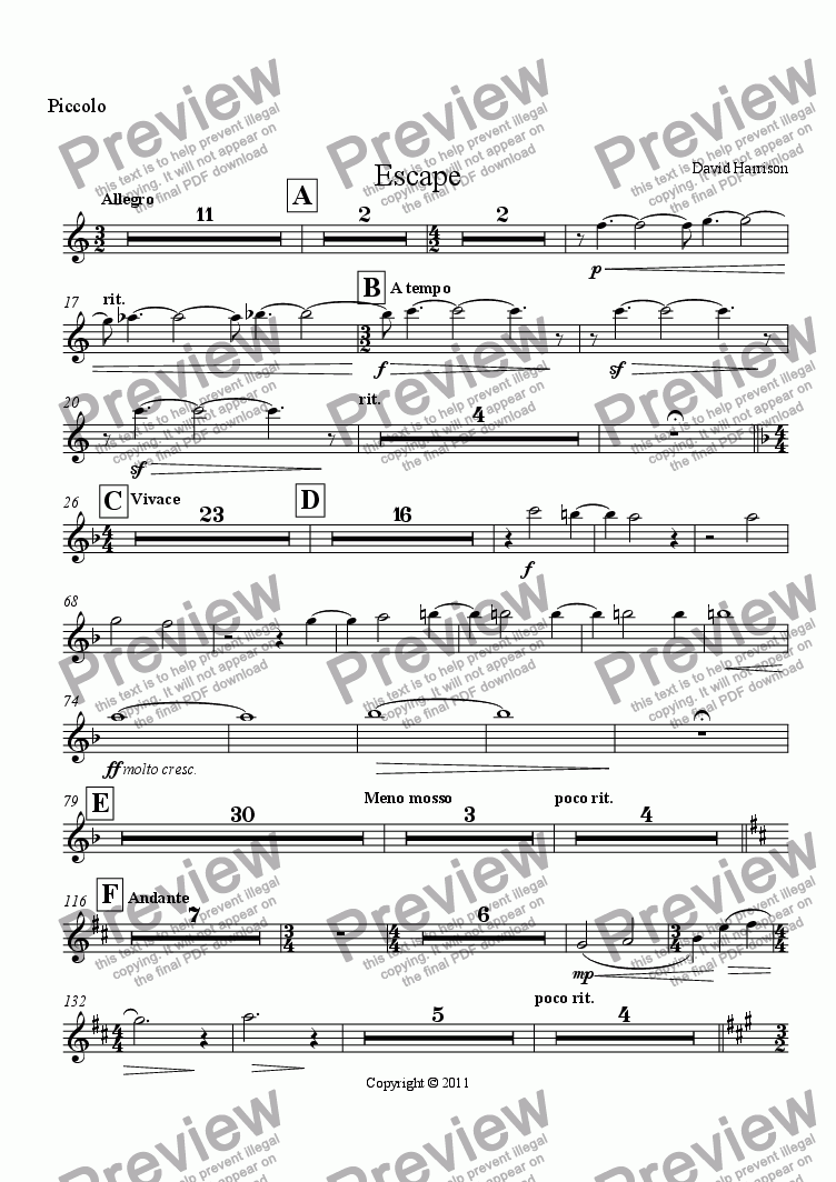 page one of the Piccolo part from Escape