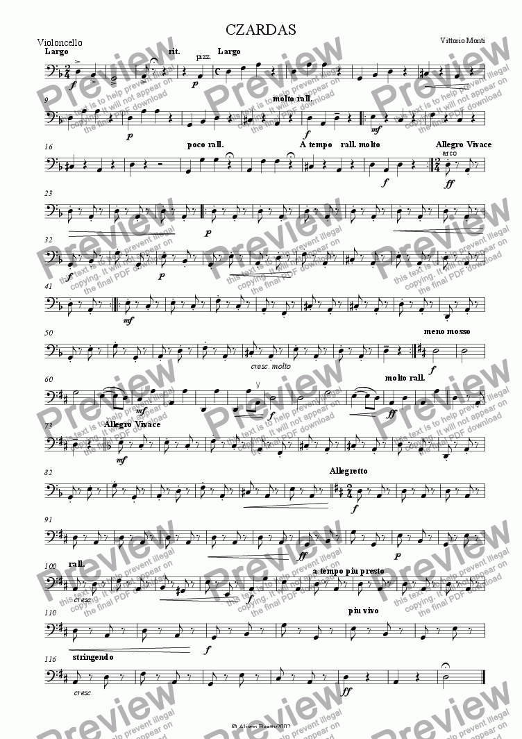 page one of the cello part from Czardas