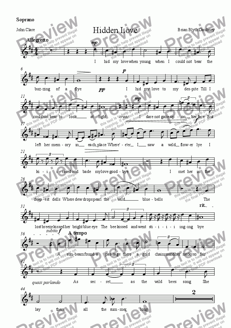 page one of the Soprano part from Hidden Love