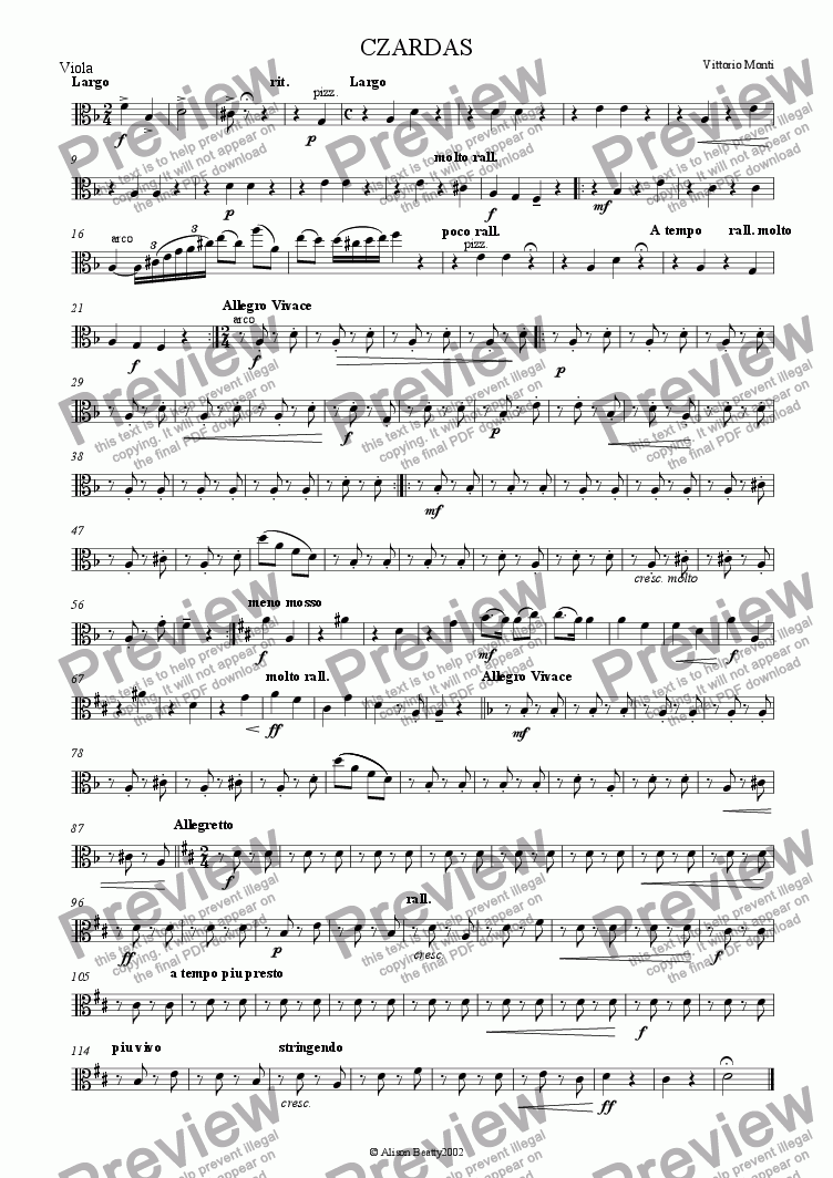 page one of the viola part from Czardas