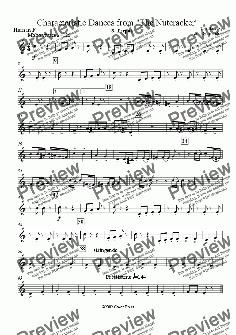 page one of the Horn in F part from Trepak from the Nutcracker Suite