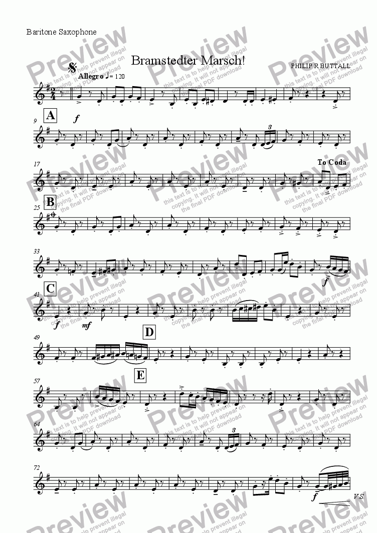 page one of the Baritone Saxophone part from Bramstedter Marsch! (Saxophone Quartet / Quintet)