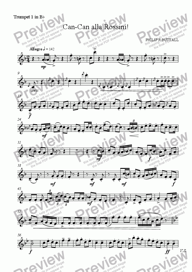 page one of the Trumpet 1 in Bb part from Can-Can alla Rossini! (Brass Quintet)