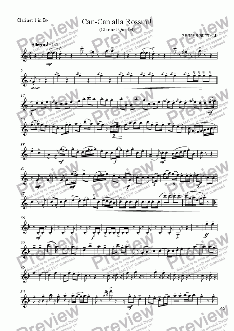 page one of the Clarinet 1 in Bb part from Can-Can alla Rossini! (Clarinet Quartet)