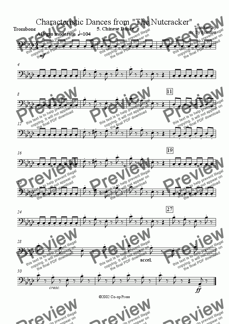 page one of the Trombone part from Chinese Dance from the Nutcracker Suite