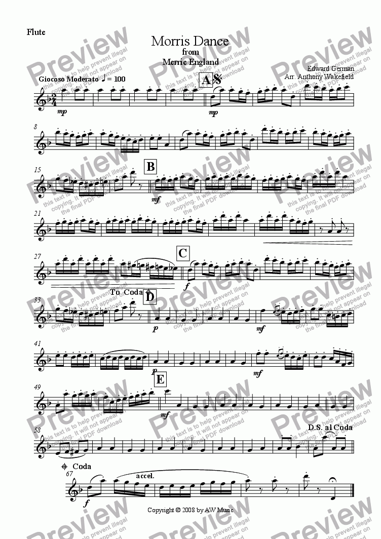 page one of the Flute part from Morris Dance from Merrie England