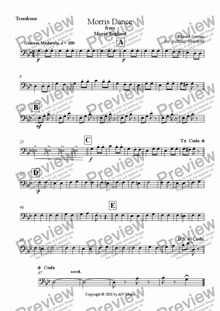 page one of the Trombone part from Morris Dance from Merrie England