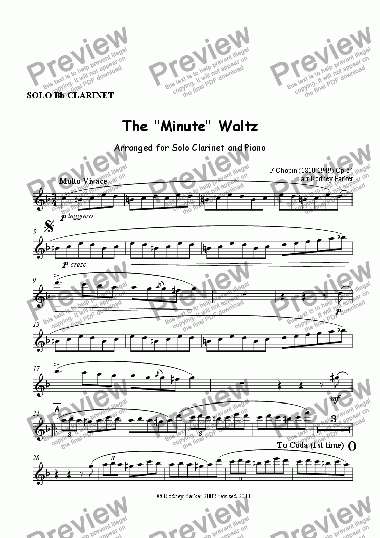 "page one of the Clarinet in Bb part from The ""Minute"" Waltz"