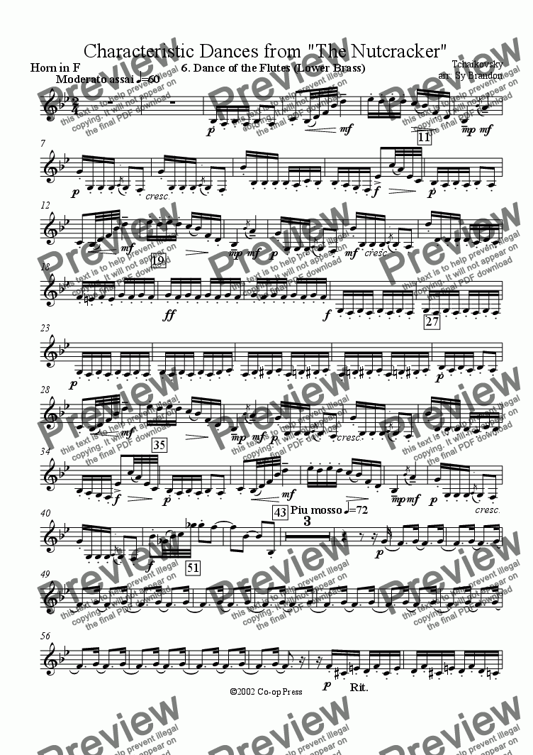 page one of the Horn in F part from Dance of the Flutes (Lower Brass) from the Nutcracker Suite