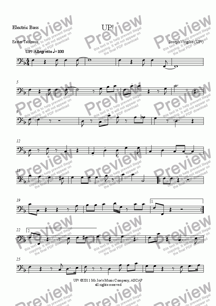 page one of the Electric Bass part from :040 Opus: [12]. UP! (an Easter Anthem - from the cantata, Easter Tableaux)