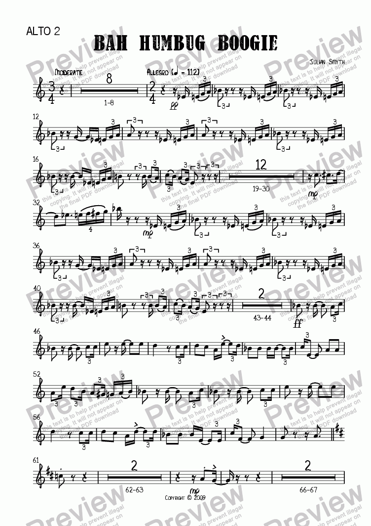 page one of the Alto 2 part from Bah Humbug Boogie