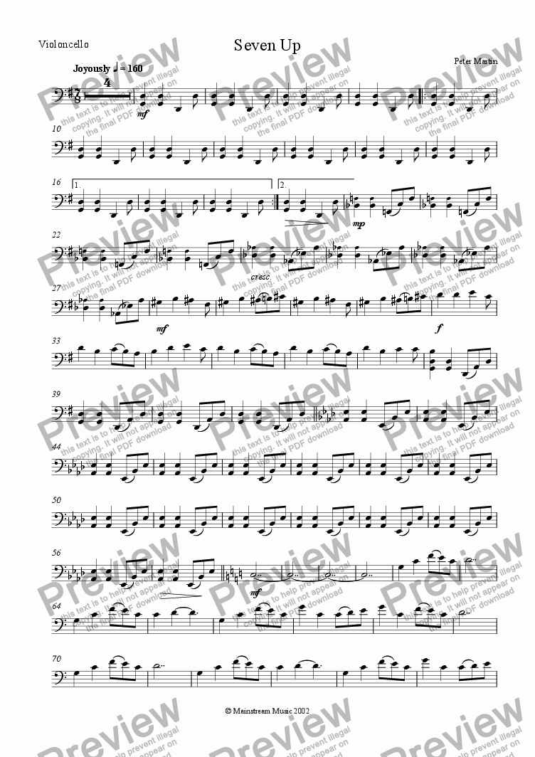 page one of the Cello part from Seven Up