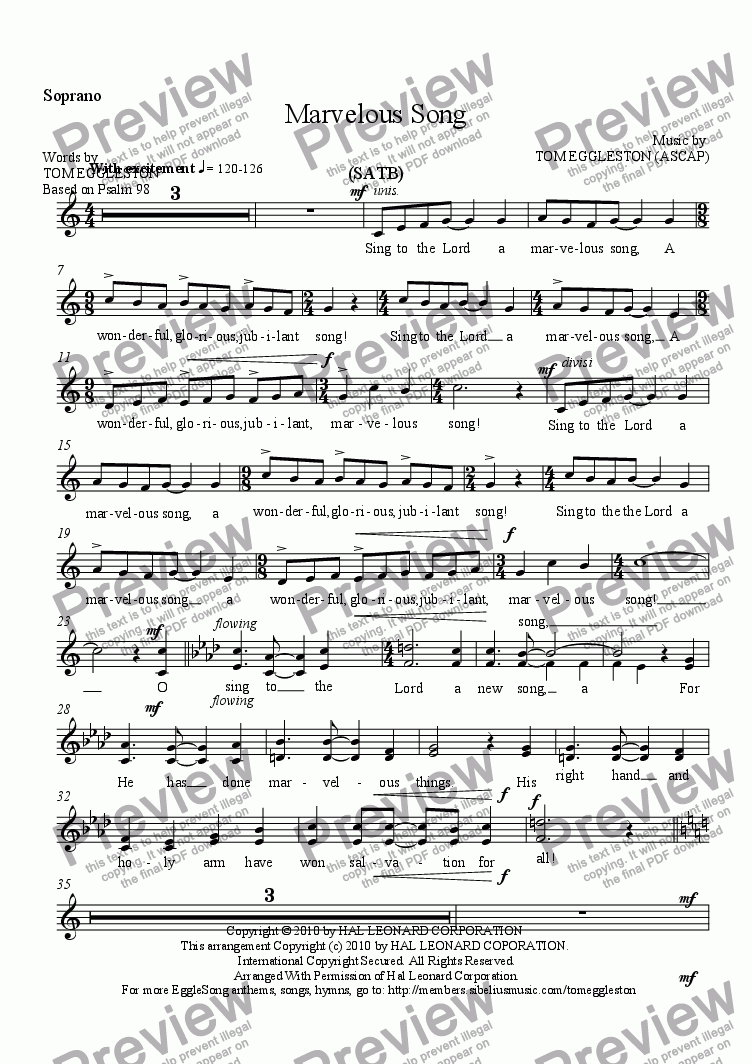page one of the Soprano part from Marvelous Song