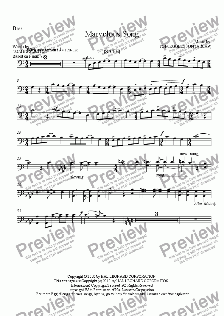 page one of the Bass part from Marvelous Song