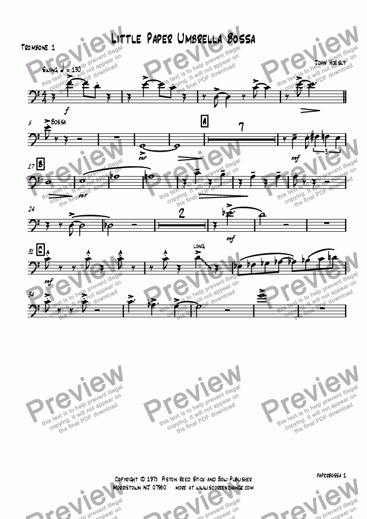 page one of the Trombone 1 part from Little Paper Umbrella Bossa- big band