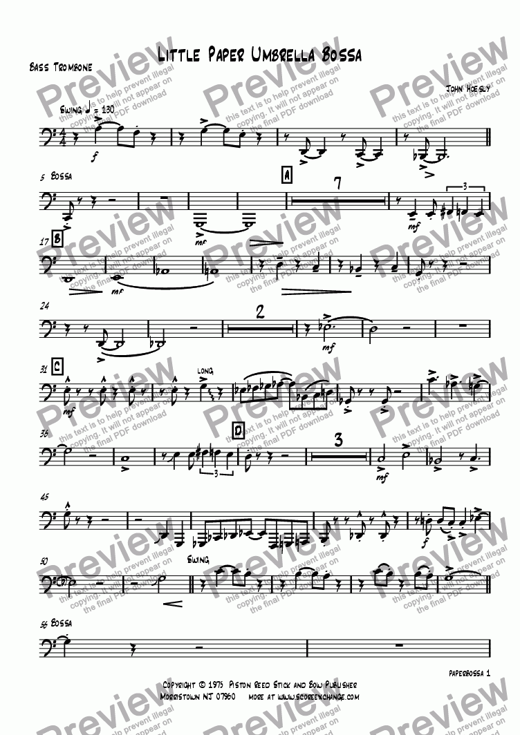 page one of the Bass Trombone part from Little Paper Umbrella Bossa- big band