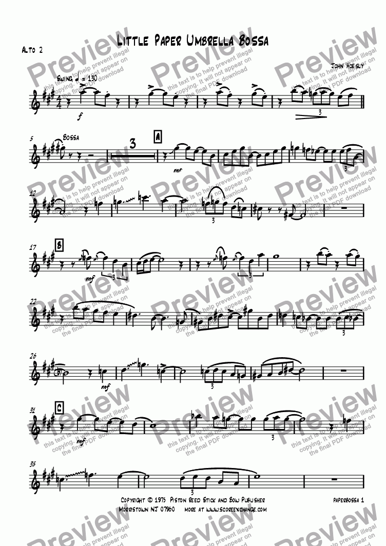 page one of the Alto 2 part from Little Paper Umbrella Bossa- big band