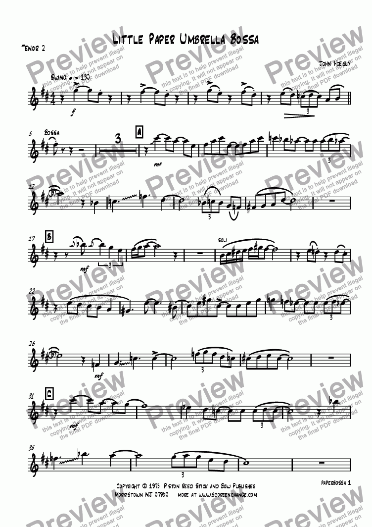 page one of the Tenor 2 part from Little Paper Umbrella Bossa- big band