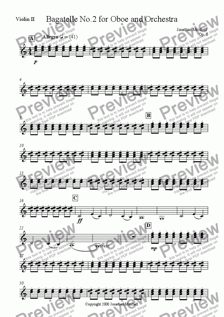 page one of the Violin II part from Bagatelle No.2 for Oboe and Orchestra