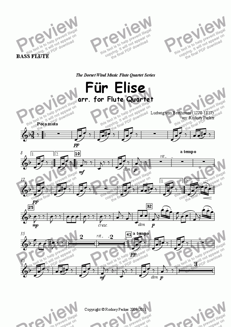 page one of the Bass  Flute part from Für Elise arr. for Flute Quartet