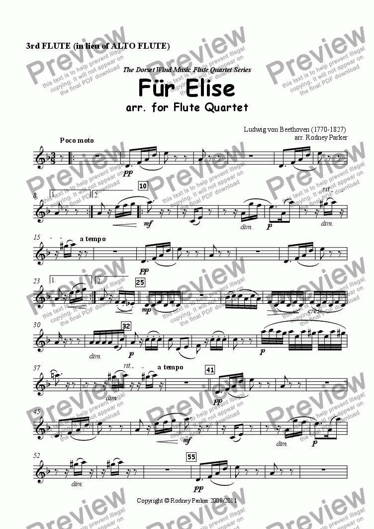 page one of the 3rd Flute in lieu of Alto Flute part from Für Elise arr. for Flute Quartet