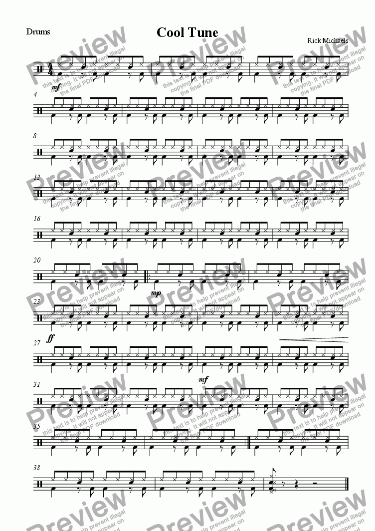 page one of the Drums part from Cool Tune ( Jnr Band )