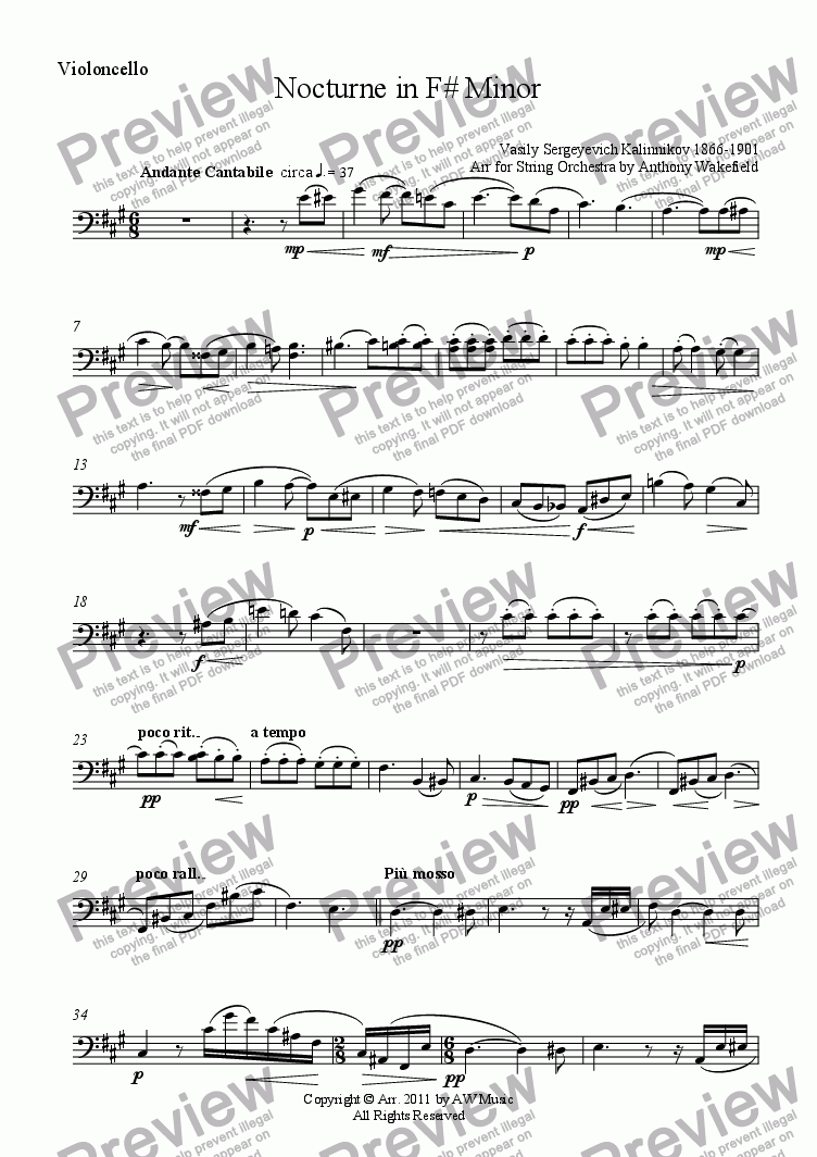 page one of the Violoncello part from Nocturne in F# Minor