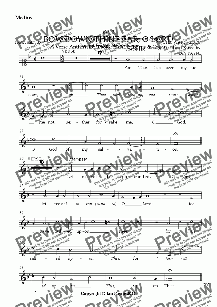 page one of the Medius part from Bow down thine ear O Lord [ORIGINAL PITCH]