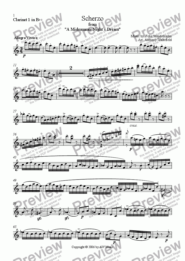 page one of the Clarinet 1 in Bb part from Scherzo and Rupel-Tanz from `A Midsummer Night`s Dream`