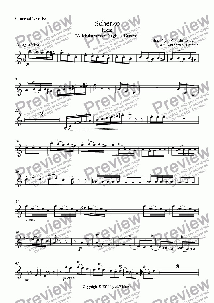 page one of the Clarinet 2 in Bb part from Scherzo and Rupel-Tanz from `A Midsummer Night`s Dream`